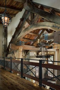 Rustic Mountain Home....catwalk / custom copper railing