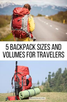 Get the best tips on choosing the perfect backpack size and volume for your next adventure. Whether you're going on a day hike, camping, or a month-long backpacking trip around the world, this guide will take you through the 5 most common backpack sizes and volumes. Read on to learn what to look for, how to figure out the right backpack sizing before buying a new travel backpack. Standard backpack size | How to choose a backpacking backpack | Hiking backpack | Camping backpack | Travel backpack Backpacking Packing List, Packing For Europe, Road Trip Packing, Packing List For Travel, New Travel, Solo Travel, Packing Lists, Travel Essentials, Travel Hacks