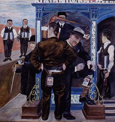 Ben Shahn, study for Prohibition murals (detail), c. Gouache on board, 16 inches x 31 inches. Museum of the City of New York. American Scene Painting, Ben Shahn, Social Realism, Raoul Dufy, Magic Realism, American Modern, History Teachers, Gouache Painting, Henri Matisse