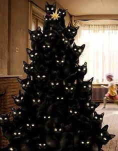 Over 30 of the most Creative Christmas Trees - everything from Beautiful Trees, Outdoor Trees, and Fun Trees.we have got you covered! Cat Christmas Tree, Creative Christmas Trees, Halloween Christmas, Happy Halloween, Dark Christmas, Halloween Trees, Holiday Tree, Christmas Photos, Christmas Ornament