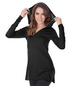 Loving this Black V-Neck Hooded Tunic on #zulily! #zulilyfinds