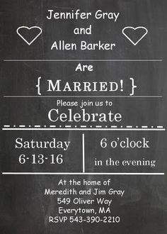 chalkboard and hearts elopement party invitations this is super cute