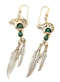 estate vintage sterling silver turquoise native american mystic bear earrings on Etsy, $50.00