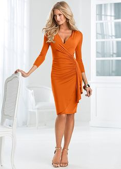 Burnt Orange Side ruffle dress from VENUS. Sizes XS-XL!