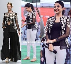 At promotions of Bombay Velvet today, Anushka did black and white wearing an embroidered Rahul Mishra jacket with a black tank and white denims. While I loved the casual version on her, must admit that the runway palazzo pants also looked pretty good with the jacket. Left: Rahul Mishra Center, Right: Anushka Sharma at Bombay …