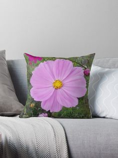 """""""Winter Cosmos Flower in Pink Throw Pillows by ellenhenry Floor Pillows, Throw Pillows, Floral Cushions, Carnations, Hibiscus, Cosmos, Daisy, Sweet Home, Original Art"""
