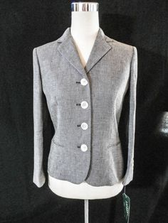 NWT 250$ LAUREN BY RALPH LAUREN Size 4 100% LINEN TWEED FITTED JACKET #LaurenbyRalphLauren #BasicJacket