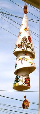 Custom Made Ceramic Custom Personalized Custom 3 Tiered Pottery Bell, Painted Design, Words Wind Chime