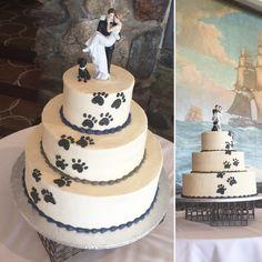 Paw print wedding cake 100% buttercream