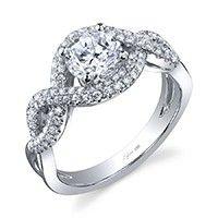 Bold Crisscross Round Brilliant Diamond Engagement Ring