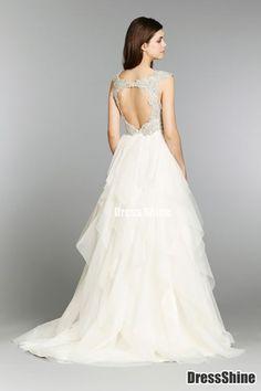 Gorgeous Tulle & Satin A-line V-neck Raised Waistline Beaded Wedding Dress - A-Line Dresses - Wedding Dresses - Weddings