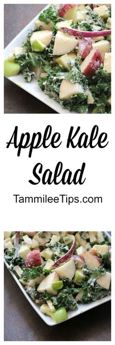 Apple & Kale Potato Salad! Perfect for summer picnics and barbecues. Super easy to make and tastes great.