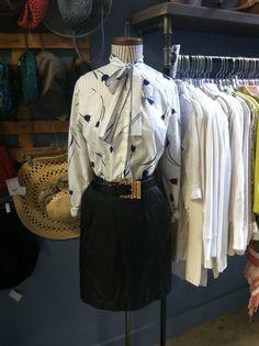 Vintage tie blouse, leather skirt, leather gold buckle belt Store Mannequins, Tie Blouse, Belt Buckles, Leather Skirt, Skirts, Gold, Vintage, Leather Skirts, Skirt