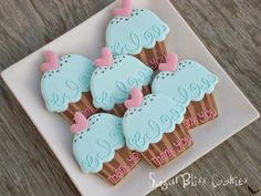 birthday for him ideas Ice Cream Cookies, Fancy Cookies, Iced Cookies, Biscuit Cookies, Cute Cookies, Sugar Cookies, Heart Cookies, Fondant Cookies, Galletas Cookies