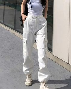 White Cargo Pants, Cargo Pants Outfit, Cargo Pants Women, White Trousers, Trousers Women, Women's Pants, Baggy Cargo Pants, Cute Pants, Soft Pants Outfit
