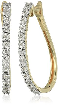 10k Yellow Gold Diamond Accent Hoop Earrings Click Image To Review More Details