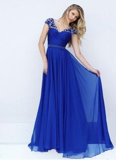 A-Line/Princess V-neck Floor-Length Chiffon Prom Dress With Beading Appliques Lace