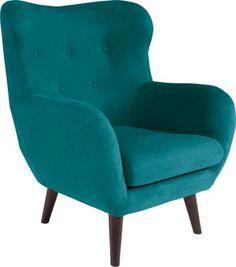 Toto pěkné křeslo v retro stylu připomínající slavné designové klasiky, bude středobodem pozornosti ve Vaší obývací izbě. V tyrkysové tkanině přinese osvěžujíci atmosféru do každé místnosti. Křeslo s rozměrmi cca 91 x 104 x 80 cm (Š/V/H), s oblými tvary a kuželovými dřevěnými nohami v tmavě-hnědé barvě. Pěnová výplň a vlnité spodní pružiny Vám zajistí pohodlné sezení při sledovaní televize, čtení nebo při relaxaci. Přineste si s tímto křeslem závan Vintage štýlu do Vašeho obývacího ...