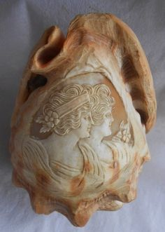 Cameo~CARVED CONCH SEASHELL OF 2 MAIDENS~Art Nouveau Style