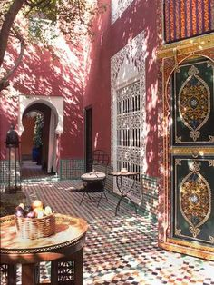 Moroccan Style Courtyards and Patio Garden- Love this color palette
