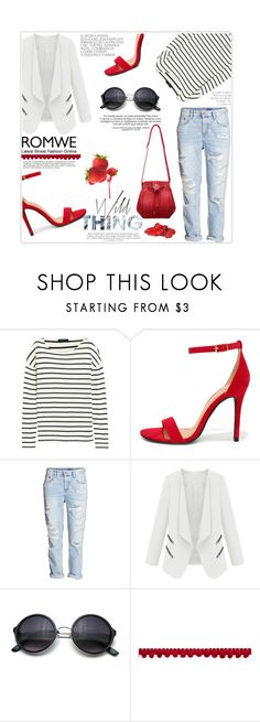 """""""Red Romwe Bag"""" by khansaba ❤ liked on Polyvore featuring J.Crew, Lulu*s, H&M, women's clothing, women's fashion, women, female, woman, misses and juniors"""