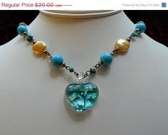 ON SALE Vintage Necklace designed with Blue by AprilSnowJewelry, $17.00