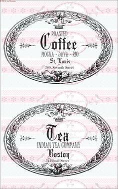 Bügelbild Kaffee Tee label Shabby 1510