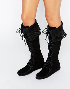 Image 1 of Minnetonka Black Suede Front Lace Knee High Boots Lace Knee High Boots, Lace Up Boots, Boho Heels, Shoe Box, Black Suede, Combat Boots, Fashion Online, Front Lace, Hand Sewn