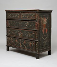 Unknown, <i>Chest of Drawers</i>, 1705-25, Painted oak, tulip poplar, and pine, 44 x 20 1/4 x 42 7/8 inches, The Wallace Nutting Collection, Gift of J. Pierpont Morgan, 1926.327