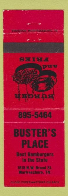 Matchbook Cover - Buster's Place Murfreesboro TN