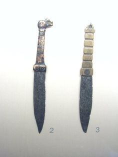 Early medieval knife with a bird head on the handle, a nice decorative touch on what remains a highly functional blade.