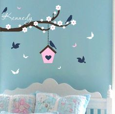 Wall stickers! Baby Girl Name Wall Decal Birdhouse Vinyl Sticker Nursery Decor Branch Tree Flowers Birds Personalized Baby Girl Toddler Tween Name Bedroom Ideas