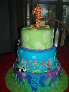 1st Birthday Jungle Animals Cake made to match partyware