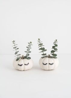 Decorate your home with mini cute faced pumpkins with this Halloween DIY.