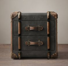 Richards' trunk 2 drawer cube as an accent/side table in the living room. Charcoal canvas clad with leather, wood and metal accents. Storage Mirror, Bath Storage, Furniture Vanity, Cool Furniture, Ottoman Furniture, Painted Furniture, Trunk Side Table, Side Tables, Entry Tables