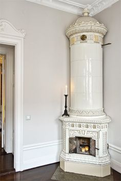 Wood stove please....and the beautiful details in the crown molding.