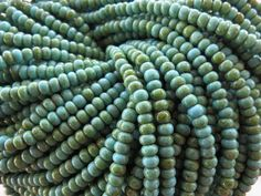 6/0 Opaque Turquoise Picasso Czech Glass Seed by beadsandbabble, $1.99
