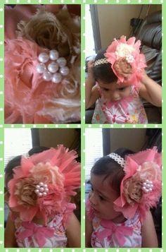 Big chiffon flower headband madeby_rosienino@yahoo.com