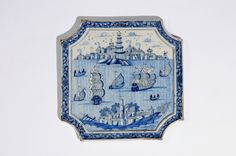 Collection item D8218. Blue and White Chamfered Square Plaque  Delft, circa 1750-60  26.6 x 26.8 cm. (10 1/2 x 10 9/16 in.)     Share      Download Download larger image     Images on this website are licensed under a Creative Commons Attribution-NoDerivs 3.0 Unported License.