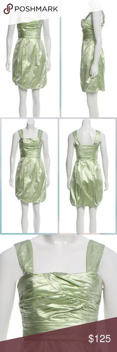 """Diane von Furstenberg Green Metallic Dress Sage Diane von Furstenberg Treenie brocade mini dress with square neck, ruched accent at bust, concealed seam pockets at hips, bubble hem, pleat accents throughout and concealed zip featuring hook-and-eye closure at side. Bust: 28"""" Waist: 25"""" Hip: 30"""" Length: 36"""" Estimated Retail: $485.00 Condition: Pristine Fabric: 76% Acetate, 24% Polyester; Lining 93% Silk, 7% Spandex Diane Von Furstenberg Dresses Mini"""