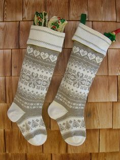 Pair of personalized, neutral two tone, Christmas stockings