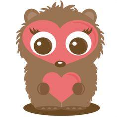 Hedgehog Holding Heart SVG file for scrapbooking cutting machines hedgehog svg cut file cute hedgehog clipart