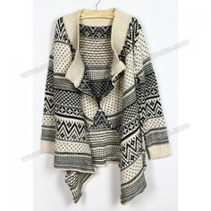 Ethnic Style Lapel Neck Geometric Print Irregular Cardigan Design Long Sleeve Sweater For Women Cheap Cardigans, Cardigans For Women, Cheap Sweaters, Cardigan Design, Sammy Dress, Online Fashion Stores, Pretty Outfits, Pretty Clothes, Ethnic Fashion