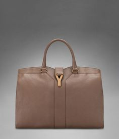 Large YSL Cabas Chyc in Beige Leather