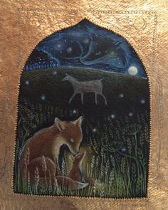 """Under the Chalk Horse"" pencil, 24ct gilding. Hannah Willow www.hannahwillow.com www.facebook.com/Hannah.willow.artist #fox #art #illustration #hannahwillow"