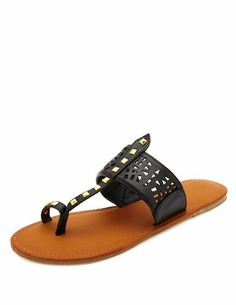 Laser-Cut Studded Toe Loop Thong Sandals: Charlotte Russe