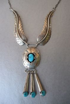 Vintage Sterling Turquoise Navajo Indian Necklace by Vanityfare, $135.00