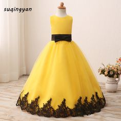 2017 Real Pics Yellow Flower Girl Dresses With Black Appliques Sleeveless Tulle Ball Gown Kids Wedding Pageant Party Gowns