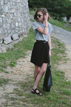 Primark Asymmetrical Skirt, Primark Grey Tee, Primark Sandals, Primark Tote