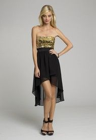 Short Dresses - Strapless Hi-Lo Short Dress with Sequined Bodice from Camille La Vie and Group USA